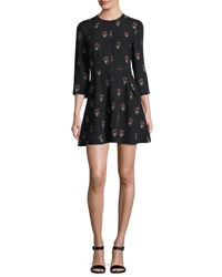 A.L.C. Terry 3 4 Sleeve Printed Silk Mini Dress Black