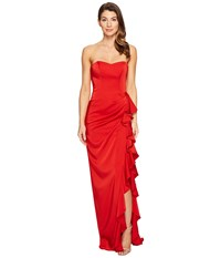 Faviana Faille Satin Strapless W Cascade 7950 Red Women's Dress