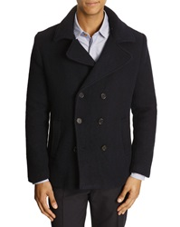 Gant Scruffy Navy Blue Boiled Wool Pea Coat