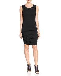 Red Haute Whipstitch Neck Ruched Dress Black