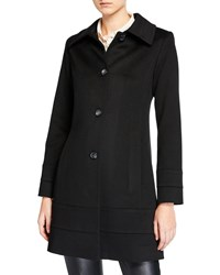 Fleurette Banded Fit And Flare Wool Top Coat Black