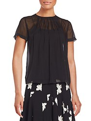 Marc By Marc Jacobs Pintucked Silk Chiffon Top Black