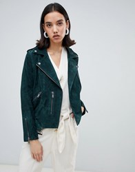 Selected Leather Biker Jacket Green