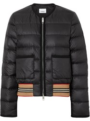 Burberry Icon Stripe Detail Down Filled Puffer Jacket Black