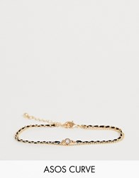 Asos Design Curve Multirow Bracelet With Woven Thread And Delicate Ball Chain In Gold