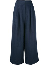 Tibi Cropped Trousers Women Linen Flax 8 Blue