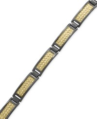 Effy Men's Herringbone Link Bracelet In 18K Gold Plated And Black Rhodium Plated Sterling Silver Two Tone