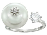 Betsey Johnson Blue By Open Ring With Cubic Zirconia Stone And Pearl And Star Detail Crystal Ring Gray