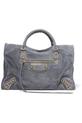 Balenciaga Classic Metallic Edge City Suede Tote Gray