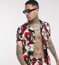 Religion Tall Revere Collar All Over Print Short Sleeve Shirt In Red Suit 6