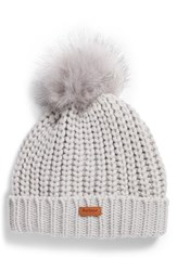 5a97d0211ab02 Barbour Saltburn Beanie With Faux Fur Pom White Ice White