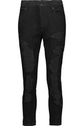 Rta Blake Cropped Suede Straight Leg Pants Black