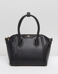 Dune Structured Tote Bag With Crossbody Strap Black