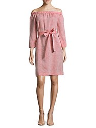 Lafayette 148 New York Linen Off The Shoulder Dress Tango Red