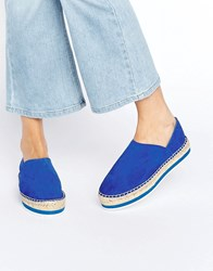 Miista Matilda Leather Espadrille Flats Blue