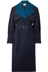 Thierry Mugler Two Tone Wool Trench Coat Navy