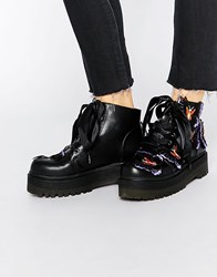 Y R U Yru Butterfly Flatform Lace Up Ankle Boots Black