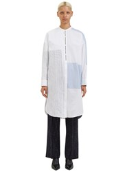 Acne Studios Elo Long Patch Striped Shirt Dress White