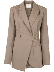 Goen.J Asymmetric Wrap Blazer Brown