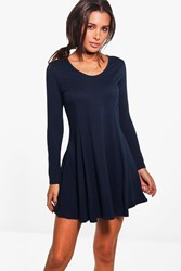 Boohoo Seam Detail Long Sleeve Skater Dress Midnight