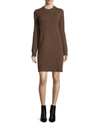 Michael Kors Long Sleeve Cashmere Sheath Dress Cocoa Brown