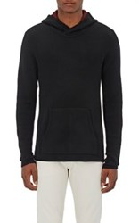 Barneys New York Men's Double Faced Cashmere Hoodie Black Red Black Red