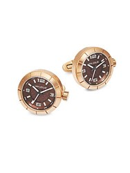 Jan Leslie Stainless Steel Watch Cuff Links Rose Gold