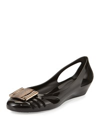 Bermuda Cutout Jelly Wedge Pump Nero Salvatore Ferragamo