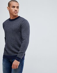 Ted Baker Jumper With Knitted Stripe Rib Navy