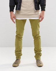 Asos Super Skinny Stacker Jeans In Light Khaki Light Khaki Green