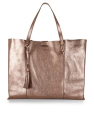 Accessorize Leather Slouchy Shopper Bag Metallic