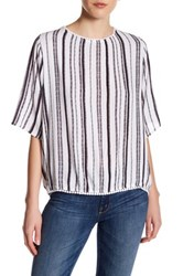 Supplies By Unionbay Patsy Amsterdam Striped Elbow Length Sleeve Shirt Gray
