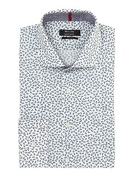 Simon Carter Small Paisley Slim Fit Shirt White
