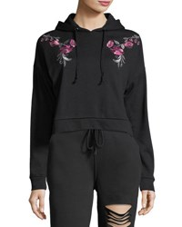 Romeo And Juliet Couture Cropped Floral Embroidered Hoodie Black