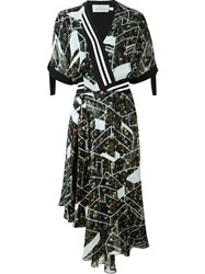 Preen By Thornton Bregazzi Geometric Print Wrap Dress Black