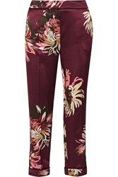 Erdem Gianna Printed Silk Satin Straight Leg Pants Red