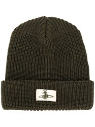 Vivienne Westwood Ribbed Knit Beanie Green