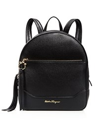 Salvatore Ferragamo Samy Leather Backpack Nero Black Gold