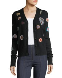 Cinq A Sept Meadow Button Front Embroidered Cardigan Sweater Black