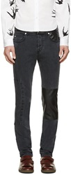 Mcq By Alexander Mcqueen Grey Leather Patchwork Jeans