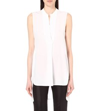 Sandro Ethel Sleeveless Silk Top Blanc