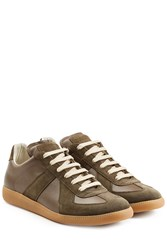 Maison Martin Margiela Leather And Suede Replica Sneakers Green