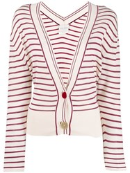 Forte Forte Striped Cardigan White