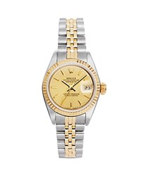 Pre Owned Rolex Stainless Steel And 18K Yellow Gold Two Tone Datejust Watch With Fluted Bezel And Champagne Dial 26Mm Champagne Gold