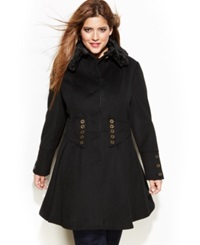 Betsey Johnson Plus Size Wool Blend Faux Fur Corset Flared Coat