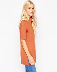 Asos Tunic With Side Splits And Polo Neck In Short Sleeves Rust