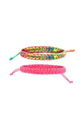 Forever 21 Braided Bracelet Set Pink Multi