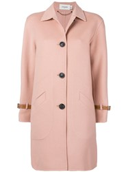 Coach Single Breasted Coat Pink And Purple