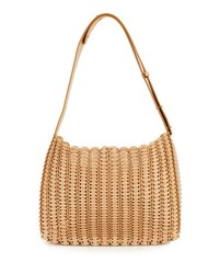 Paco Rabanne Grommetted Leather Hobo Bag Neutral