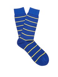 Pantherella Blavet Striped Cotton Blend Socks Blue Multi